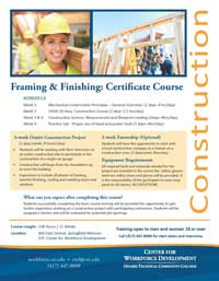 Framing & Finishing Certificate flyer