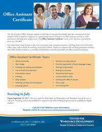 Office Assistant course flyer
