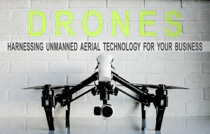 Drone with promo text
